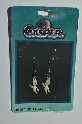 Vintage 1995 CASPER The Friendly Ghost Earings Surgical Steel Posts New Old Stoc