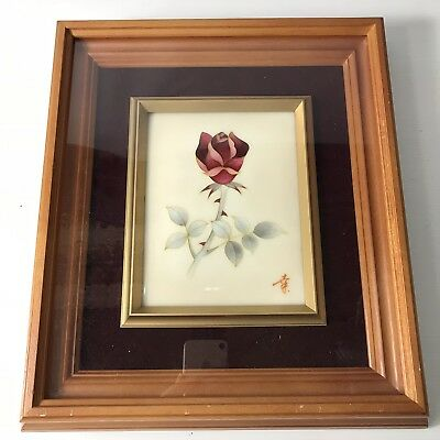 Signed Japanese Cloisonné / Enamel Plaque Red Rose 16cm X 13cm