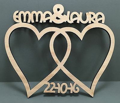 04 BIG DAY PERSONALISED  ENTWINED HEART Oak Wooden Wedding Anniversay Gift