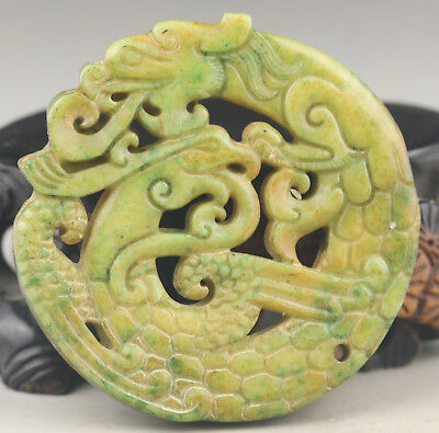 Chinese old natural jade hand-carved dragon and phenix pendant NO.G116