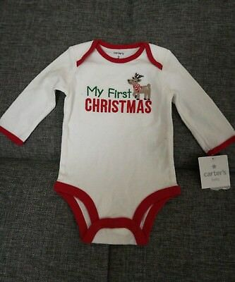 3 Months New Carter's Baby Boys Girls First Xmas Christmas Bodysuit Romper