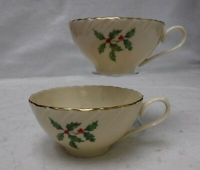 LENOX china HOLLY & BERRIES Special L77 pattern Cup - Set of Two (2) - 2""