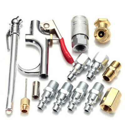 Set of 14pcs Air Tool Compressor Nozzle Blow Gun Pneumatic Cleaning Parts New