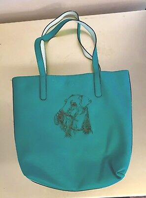 Airedale Terrier New Green-blue Pebble Leather Bag With Stitched Airedale Head