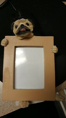 "Pug Fawn  Dog Photo Picture Frame Gift Resin 2-1/2""x3-1/2"""