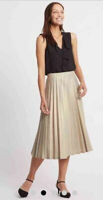 d38af8978aa M S AUTOGRAPH SILVER Metallic Pleated A-Line Midi Skirt~ Size 18 ...