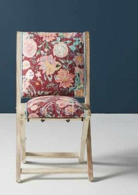 NEW Anthropologie red Emma Floral Upholstery Terai Folding Chair