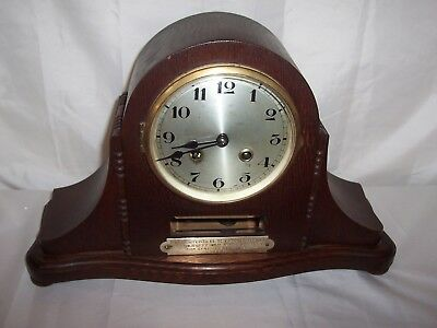 Lovely Large Hollandia Napolian Hat Style Mantle Clock With Presentation Plaque