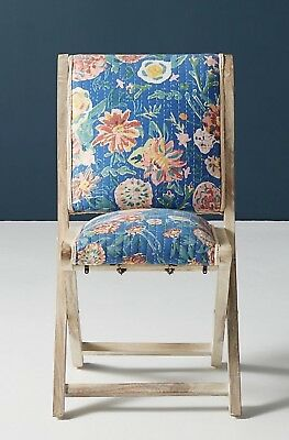 NEW Anthropologie medium blue Emma Floral Upholstery Terai Folding Chair