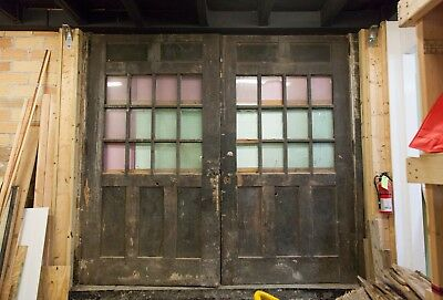 "Antique Carriage Double Doors Heavy Duty Early 1920's ~10'x9' Opening 2.5"" Thick"