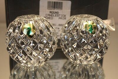 A Pair (2) Waterford Cut Crystal Lismore Taper Candle Holders Round New in Box
