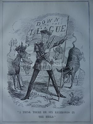 FREE TRADE - DOWN WITH THE LEAGUE - SIX RICHMONDS 1846 Original Victorian Print