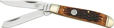 Rough Rider Mini Trapper Pocket Knife Stainless Steel Blade Amber Bone Handle