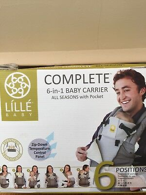 Lille Baby 6 In 1 Complete Baby Carrier All Seasons in Black 100 Cotton 3 D Mesh