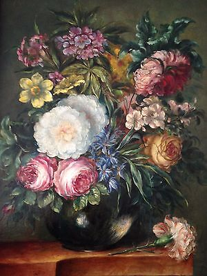 antique original Dutch oil painting on the wooden panel Still life signed c.1900