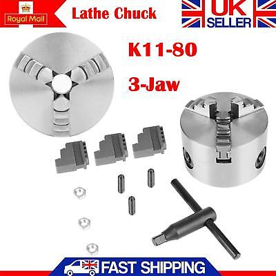 K11-80 Self-Centering 3 Jaw Lathe Chuck With Extra Jaws Machine Accessories UK