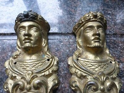 Pair antique, vintage brass figure heads,door ornaments, ship,9 inches,Kings