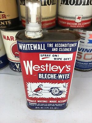 Vintage Westley's Whitewall Bleche-wite Spray Ohio Oil Can Metal No Reserve!!!