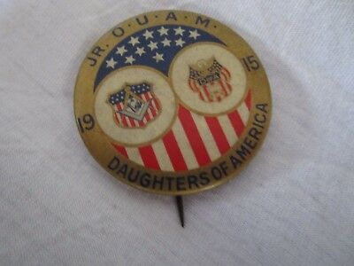 """1915 1.75"""" Daughters of America Celluloid Pin back Button Masonic Whitehead Hoag"""