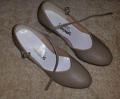Danshuz Size 7 1/2 Ladies Ballroom Tan Dancing Shoes with Heels