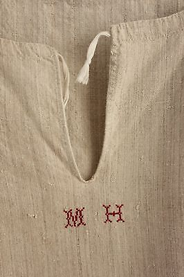 Linen French chemise nightdress MH linen monogram 19th century clothing clothes