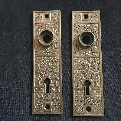 Antique Pair Of Brass Victorian Eastlake Flower Pot Backplates