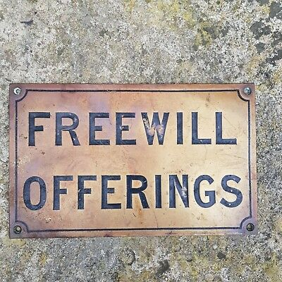 Vintage Brass FREEWILL OFFERINGS, Engraved & Paint Filled - Salvage - NO RES