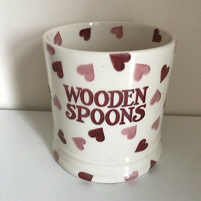 Emma Bridgewater Pink Hearts Wooden Spoons Utensil Jar. Discontinued