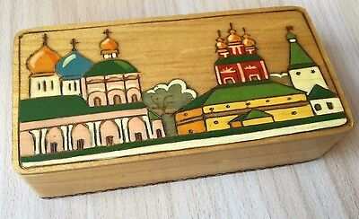 Small Russian Vintage Collectible Wooden Hand Painted Old Monastery Trinket Box