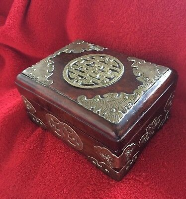 Stunning Antique/vintage,signed Chinese/oriental Ornate, Brass Mounted Wood Box.