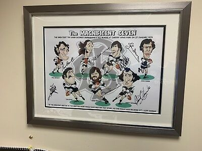 Barbarians v New Zealand 1973 HAND SIGNED Autograph Photo Mount