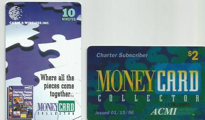 2 MoneyCard 1996 ACMI / 1998 Cable & Wireless Phone Cards -