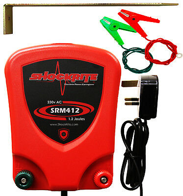 Mains Powered Electric Fence Energiser ShockRite SRM412 1.2J + Stake & Cables