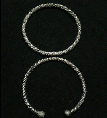 VIKING twisted SILVER LOT OF 2 BRACELETS Ancient BRACELETs artifact RARE