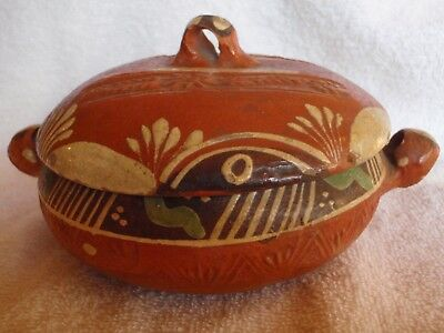 Vintage Mexican Clay Redware Pottery, Tlaquepaque, Covered Bean Pot