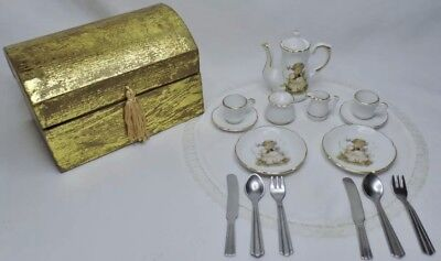 Vntg Complete Hummel Goebel Lily Valley Miniature Child Dollhouse Tea Boxed Set