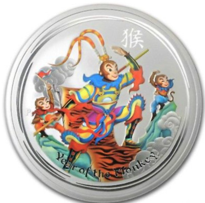 2016 Australia 5 oz SILVER Lunar Monkey King (Colorized) BU Perth Australia ebux