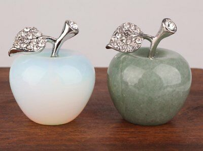 2 Precious China Opal Jade Statue Figurines Apple Decoration Christmas Gift