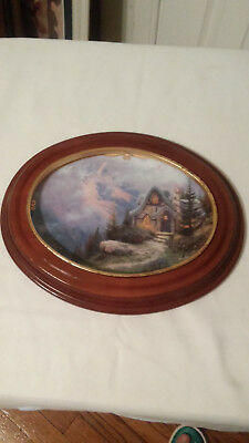 """Thomas Kinkade Plate """"Rainbow's End Cottage"""" in  V & S Frame"""