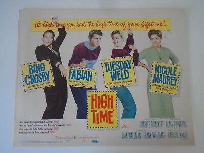 Lobby Card 1960 HIGH TIME Bing Crosby Fabian Tuesday Weld Nicole Maurey