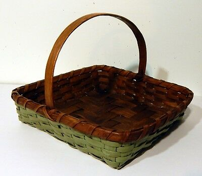 Vintage Hand Made Oak Primitive Painted Green Basket with Hand Carved Handle