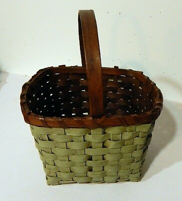 Antique Hand Made Oak Primitive Painted Green Market Basket -Hand Carved Handle