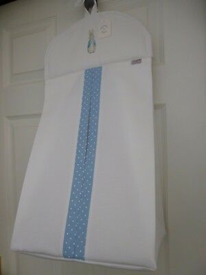 Baby Nappy Stacker Blue/White Spot Trim 'PETER RABBIT' Nursery Shower Gift - NEW