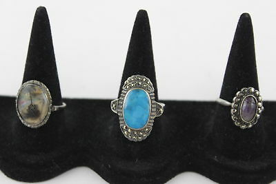 3 x .925 Sterling Silver RINGS inc. Marcasite, Stone Set, Picture (11g)