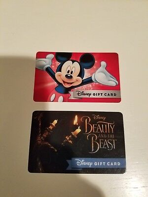 Set Of Disney Gift Cards - Mickey Mouse and Beauty And The Beast - NO VALUE