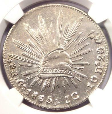 1865-CA JC Mexico 8 Reales Coin (8R) - NGC Uncirculated Detail (MS UNC)!