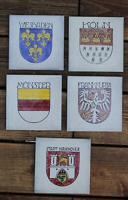 Set Of 5 Hand Painted Ceramic German City Decorative Wall Tiles