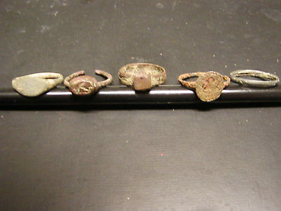 Ancient Roman Bronze Ring 100AD-300AD -Lot of Five. Very Good Condition.