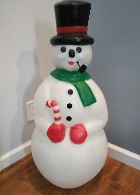 General Foam Frosty Snowman Candy Cane Christmas Blow Mold Missing Pipe 35""