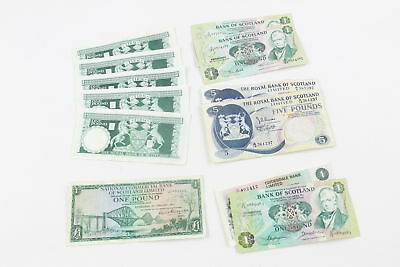 12 x Vintage SCOTTISH BANK NOTES One & Five Pound Dated 1967, 69, 73, 80, 83, 86